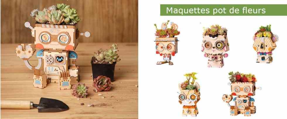 Maquettes 3D en bois pot de fleurs