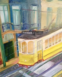 To sell and bring you happiness of the energy of Lisbon trams. This one is by the side of the Cathedral. My husband stood one side and I the other. From my view the tram looked ghost like because of the speed. Loved the colours in the winter light of Lisbon.