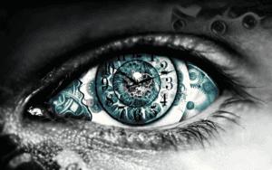 time clock in eye