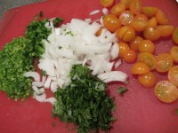 Chopped serranos, jalapenos, cilantro, onion, and tomatoes.