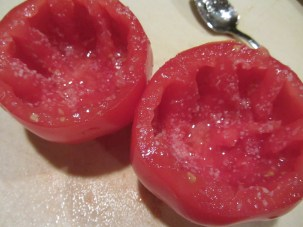 Seeded/cleaned tomato shells, salted liberally.
