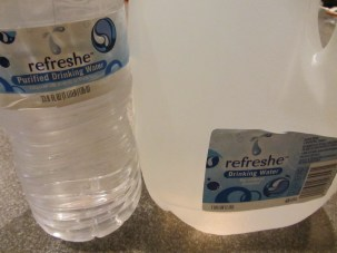 A gallon plus a pint of cold bottled water.