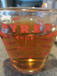 Cider vinegar, heated until very hot.