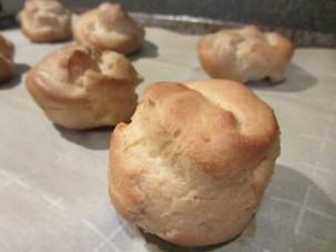 Cream puffs after baking.