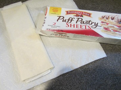 A sheet of puff pastry, thawing.