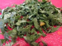 Chopped mint.