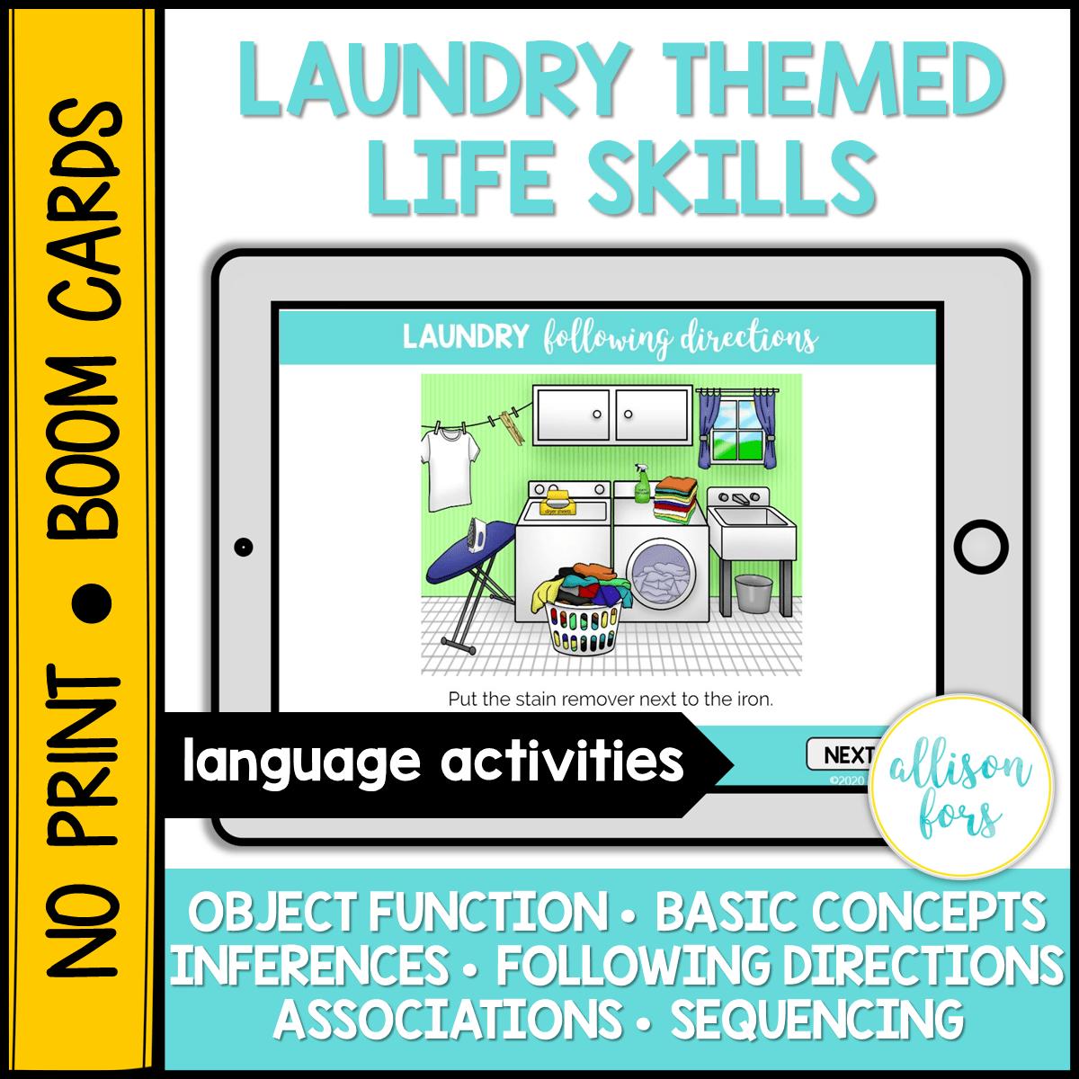 No Print Boom Cards Laundry Themed Life Skills