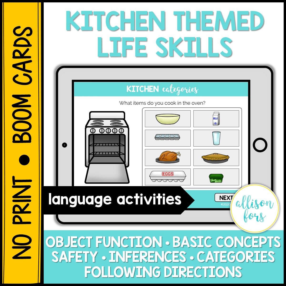 No Print Boom Cards Kitchen Themed Life Skills