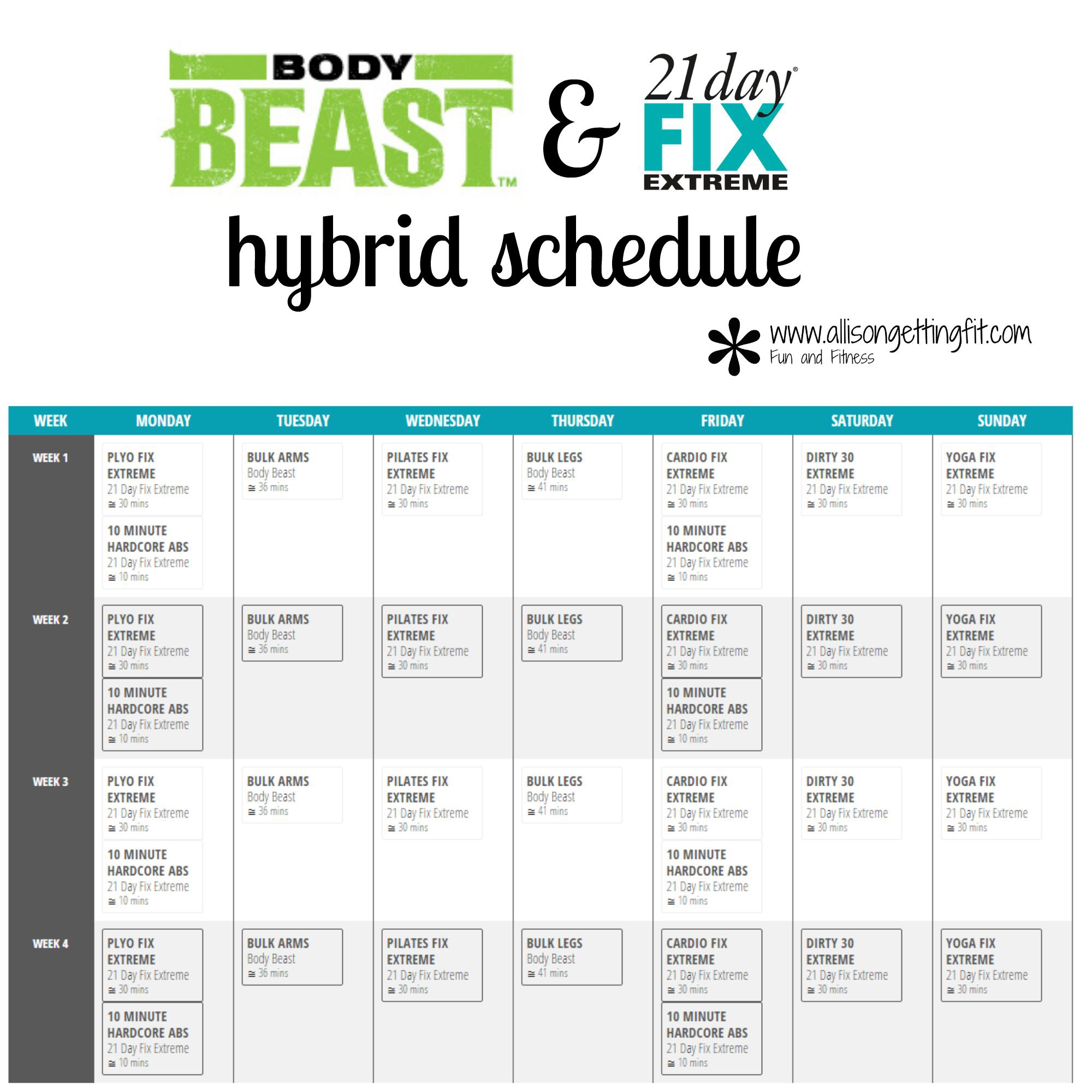 Body Beast And 21 Day Fix Extreme Hybrid