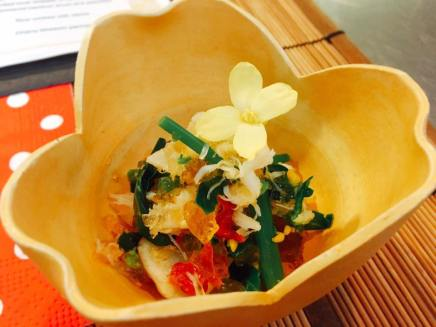 Appetizer: Dungeness Crab, Sun Choke (Kiku-imo), Sun-dried Tomato in sweetened vinegar