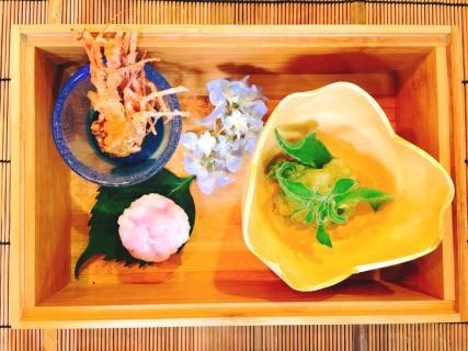 "Appetizer: Local live spot prawn mixed with ""Koji"" sauce, Dew green, Avocado"