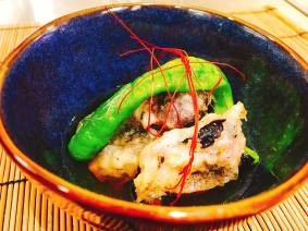 Appetizer : Fig and Shishito pepper agedashi