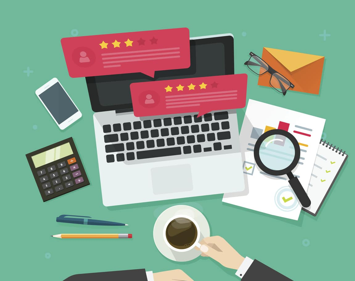 Google business reviews on laptop screen