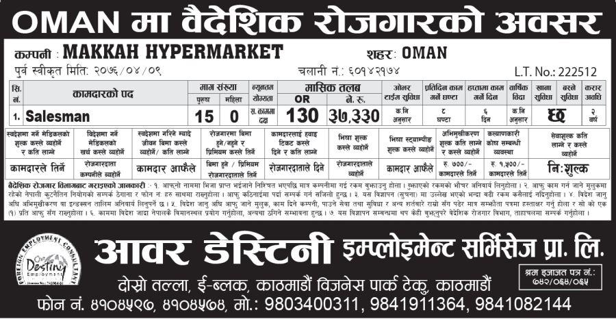 Salesman- Hypermarket & Supermarket Jobs in Oman