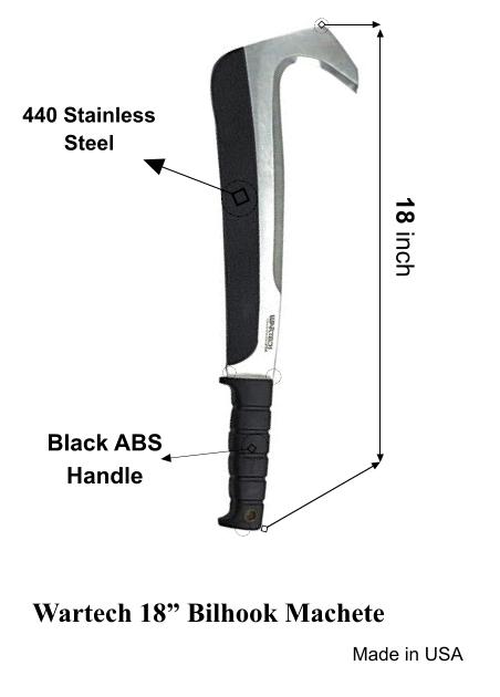 WarTech 18 inch billhook machete