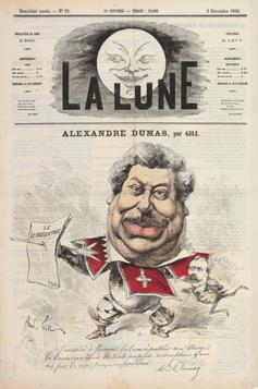 André Gill (1840-1885) Caricature de Dumas en mousquetaire