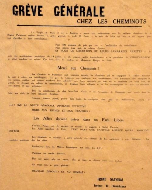 Tract d'appel à la grève chez les cheminots © Libération de Paris - Août 1944 , le combat pour la liberté - 2014