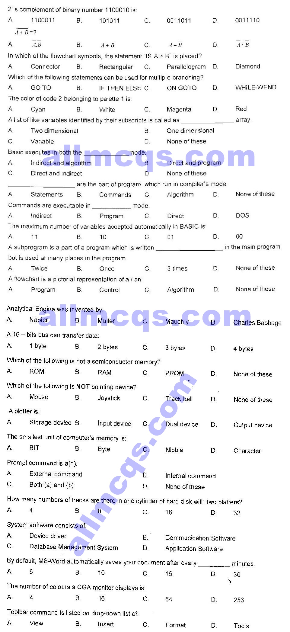 Download 9th 10th Class Computer Science Guess MCQs