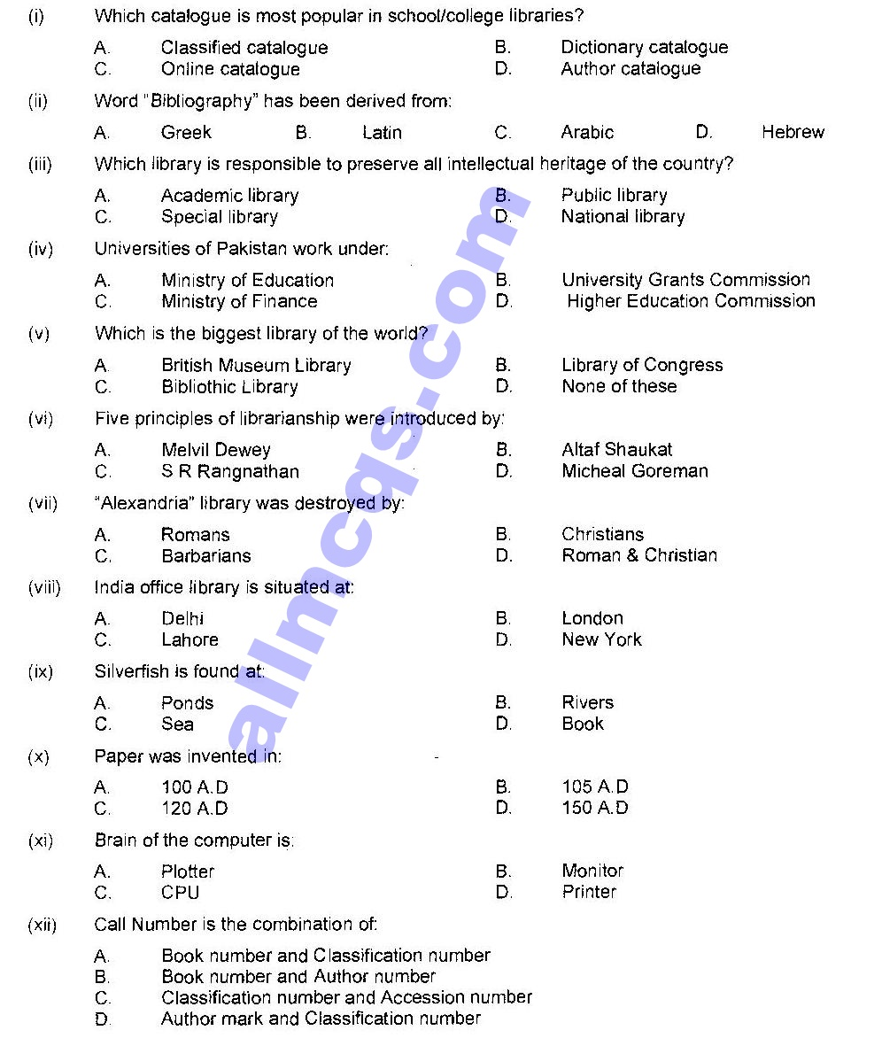 Library Science MCQs Past Papers Tests