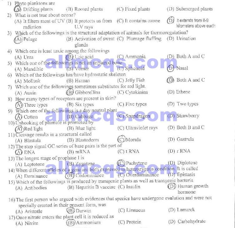 Biology Mcqs Pdf