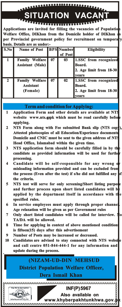 Family Welfare Assistant Jobs NTS Test Syllabus MCQS Past Papers pdf