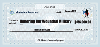 Charity check for Honoring Our Wounded Military for $56,000