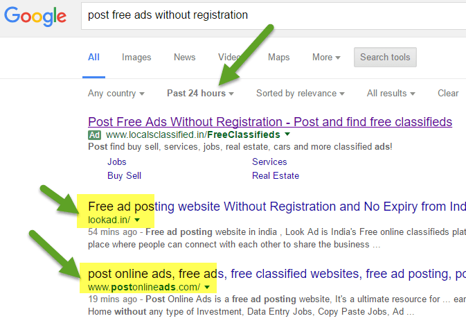 How to Collect newly add free ad posting sites list without registration using Google time search tools. free classifieds without registration websites list