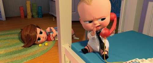The Boss Baby talking on Fisher Price phone