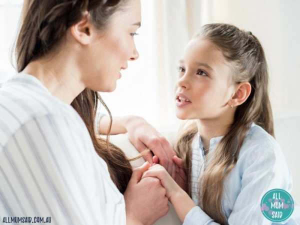Mum talking to daughter about self-love