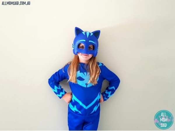 PJ Masks costumes - girl playing dress up in catboy costume