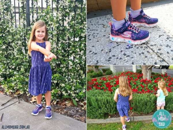 girl wearing kids Skechers sport shoes
