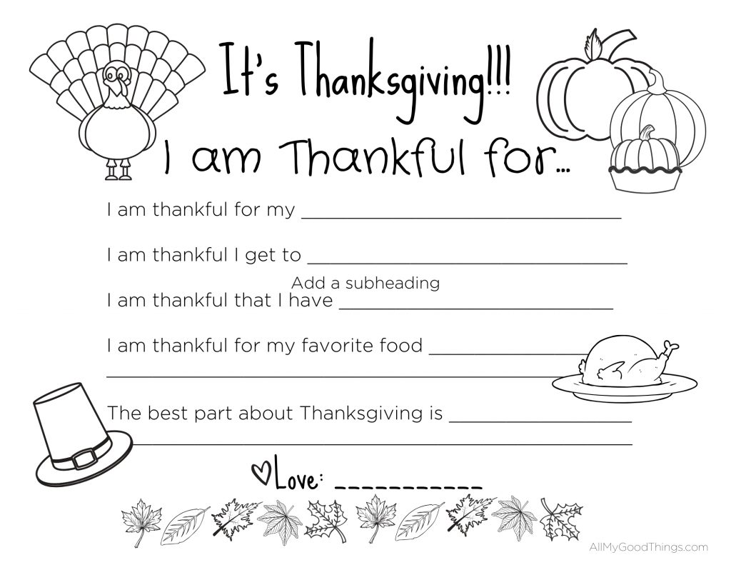Free Printable Thanksgiving Placemats For The Kids
