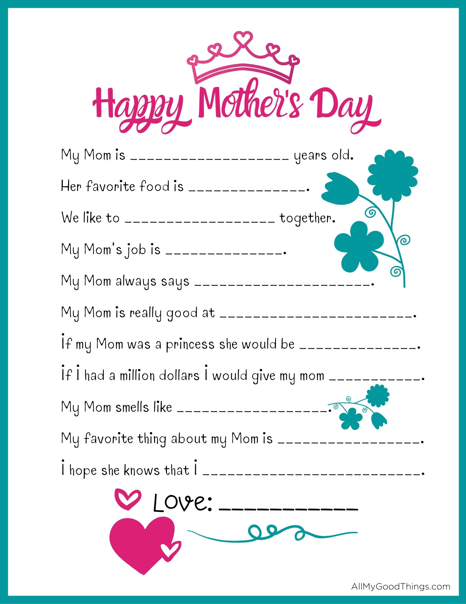 Free Mother S Day Questionnaire Printable