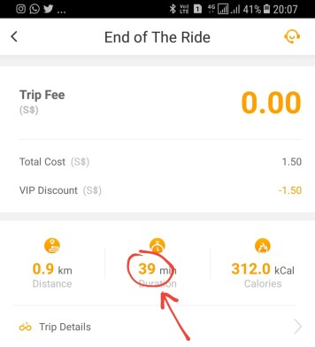 I rode the obike for 39 minutes