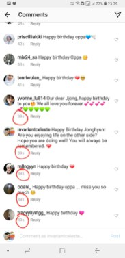 Several people including me wished Jonghyun happy birthday on his account at 39s