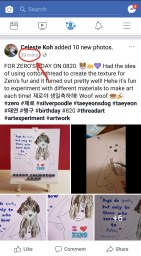 Posted my Zero birthday artwork on Facebook too 39 minutes ago