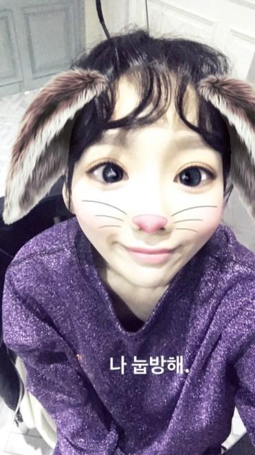 Taenggu Bunny filter on Snapchat
