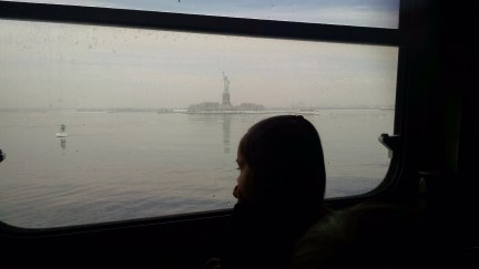 Watching Lady Liberty go by