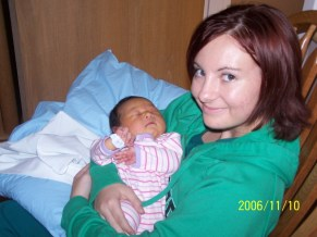 Holding my precious niece in the hospital after her birth