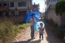 Walking in Kathmandu with my nice in 2009