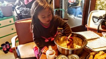 Helping with grandma's pie