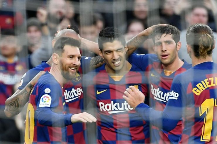 Barcelona messi Griezman Suarez Celebrate