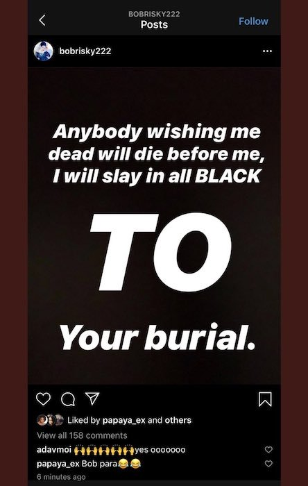 Bobrisky death react