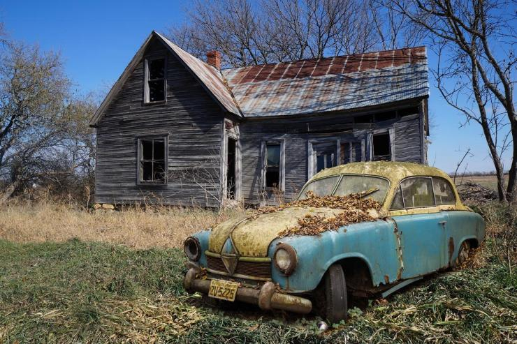 Old Forgotten Car and House
