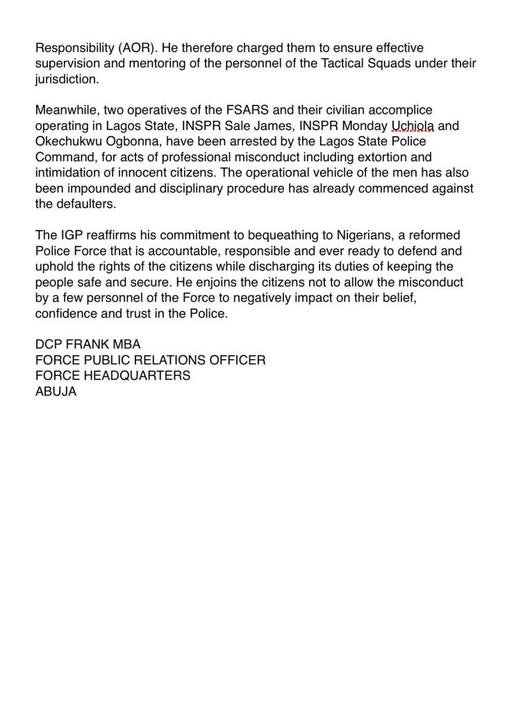 End SARS Statement