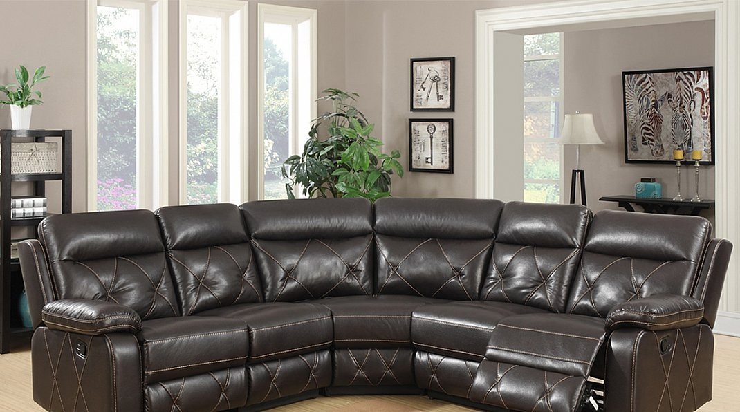 3 piece sectional with glider recliner in a chocolate brown pu fabric
