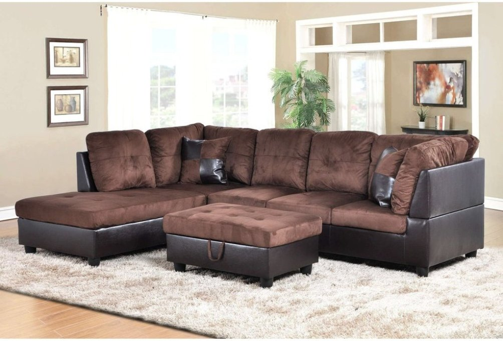f107a dark brown microfiber faux leather sectional with storage ottoman