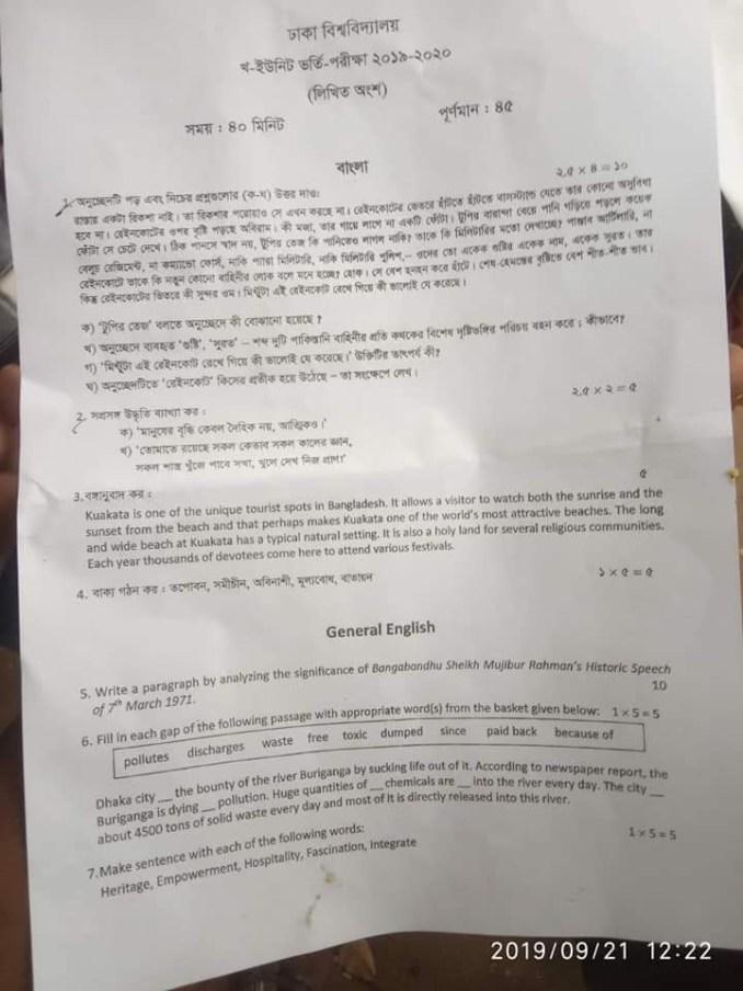 DU B Unit Written Question for