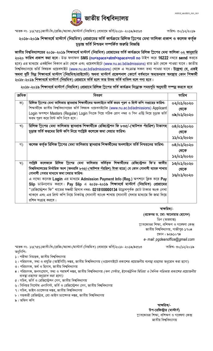 NU Masters Admission (Regular) Merit List