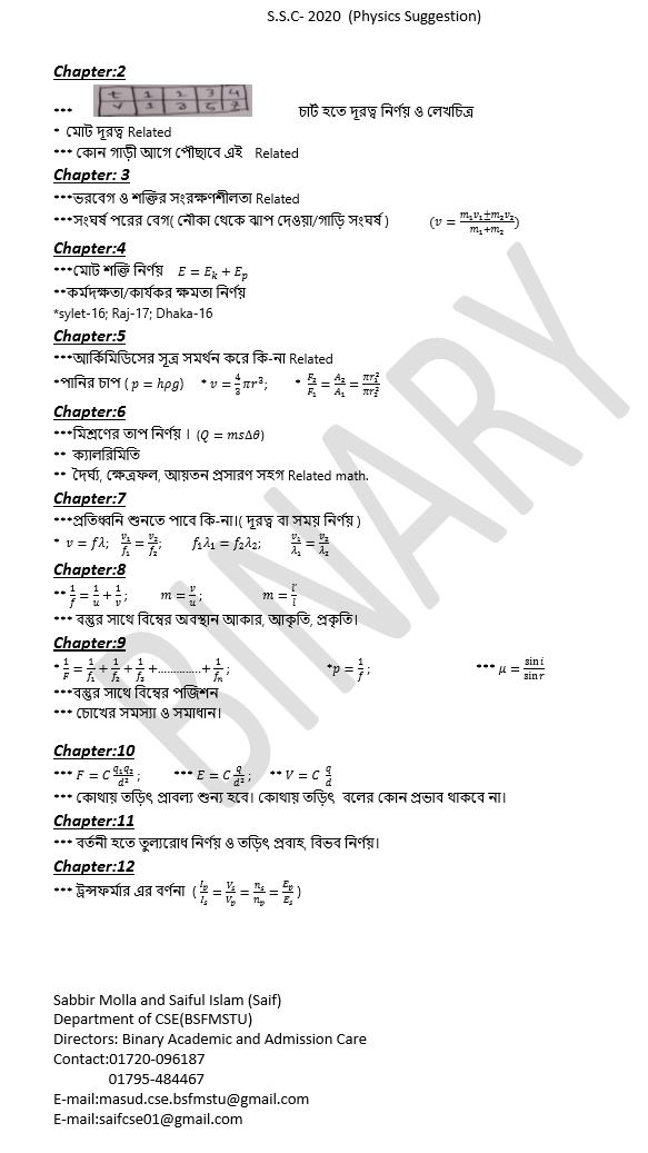 SSC Physics Question 2020 Suggestion MCQ Answer Creative Solution